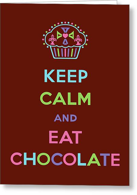Children Ice Cream Greeting Cards - Keep Calm and Eat Chocolate Greeting Card by Andi Bird