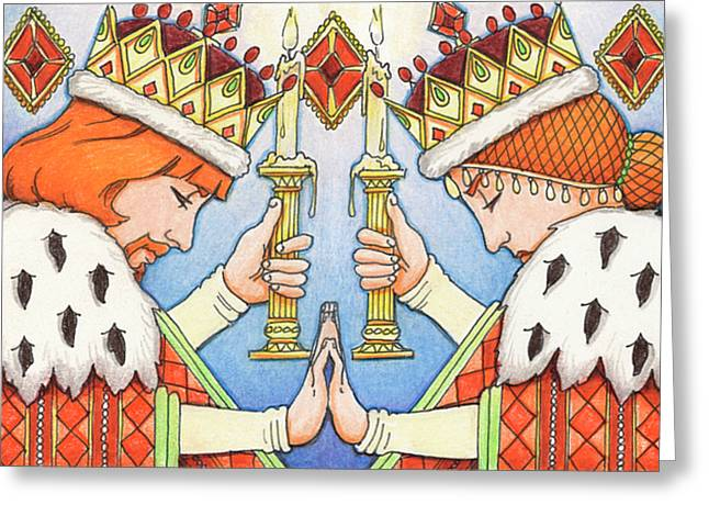 Candle Lit Drawings Greeting Cards - King and Queen of Diamonds Greeting Card by Amy S Turner