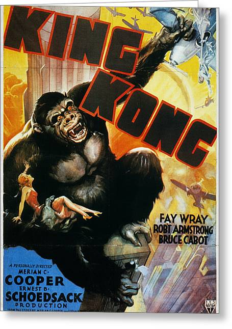 Nyc Posters Photographs Greeting Cards - King Kong Poster, 1933 Greeting Card by Granger