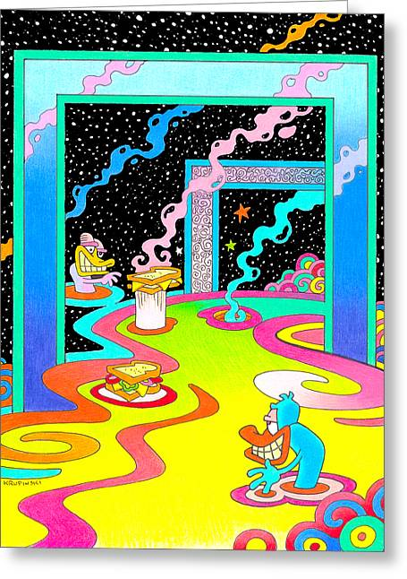 Peter Max Greeting Cards - Kozmic Lunch Greeting Card by William Krupinski
