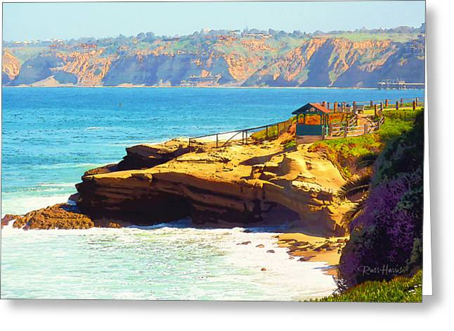 La Jolla Art Greeting Cards - La Jolla - Warming Hut Greeting Card by Russ Harris