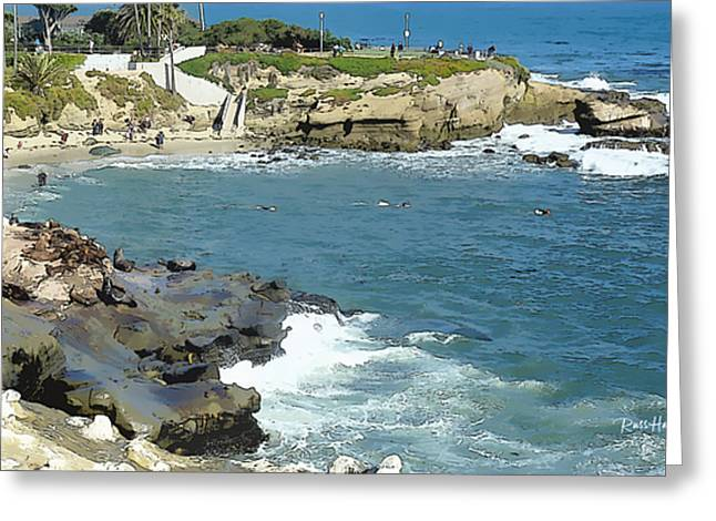 La Jolla Art Greeting Cards - La Jolla Cove - Early Morning Swim Greeting Card by Russ Harris