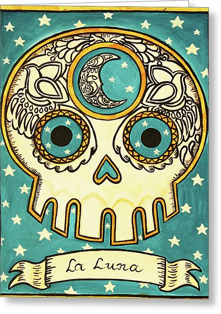 Calaveras Greeting Cards - La Luna Calavera Loteria Greeting Card by Maryann Luera