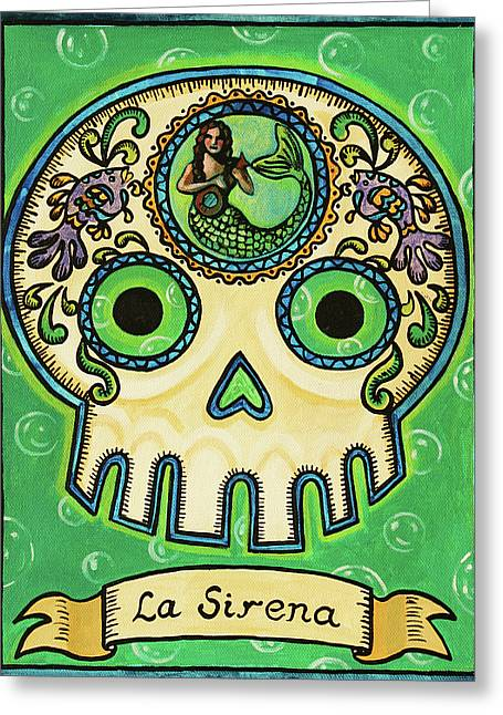 Calaveras Greeting Cards - La Sirena Calavera Loteria Greeting Card by Maryann Luera