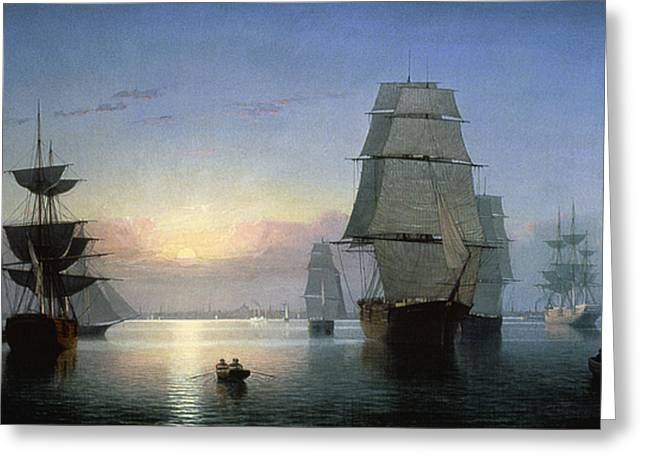 Aodng Greeting Cards - Lane: Boston Harbor Greeting Card by Granger