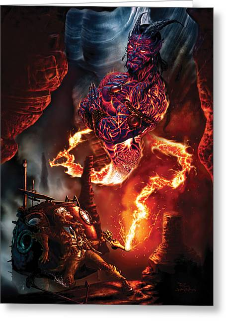 Fantasy Creature Greeting Cards - Lava Genie Greeting Card by Paul Davidson