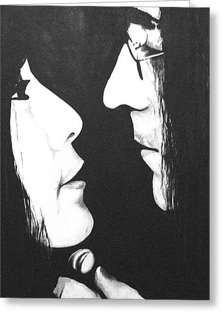 Ono Greeting Cards - Lennon and Yoko Greeting Card by Ashley Price