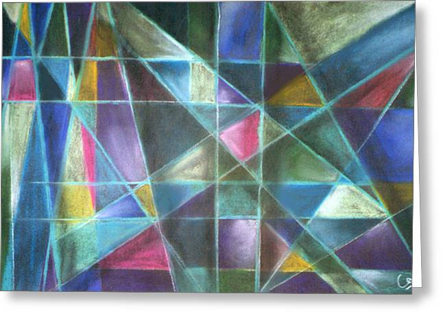 Cubist Pastels Greeting Cards - Light Patterns 2 Greeting Card by Caroline Peacock