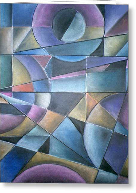 Cubist Pastels Greeting Cards - Light Patterns Greeting Card by Caroline Peacock