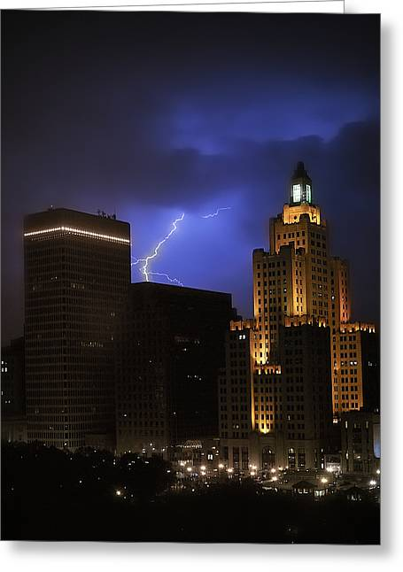 Summer Storm Greeting Cards - Lightening Over Providence Greeting Card by Vicki Jauron