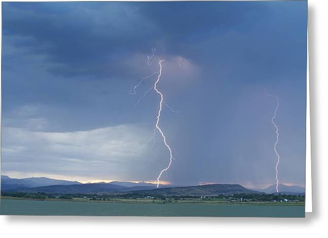 Bouldercounty Photographs Greeting Cards - Lightning Striking At Sunset Rocky Mountain Foothills Greeting Card by James BO  Insogna