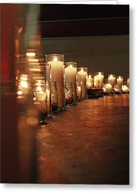 Candle Lit Greeting Cards - Lit Greeting Card by Elizabeth Richardson