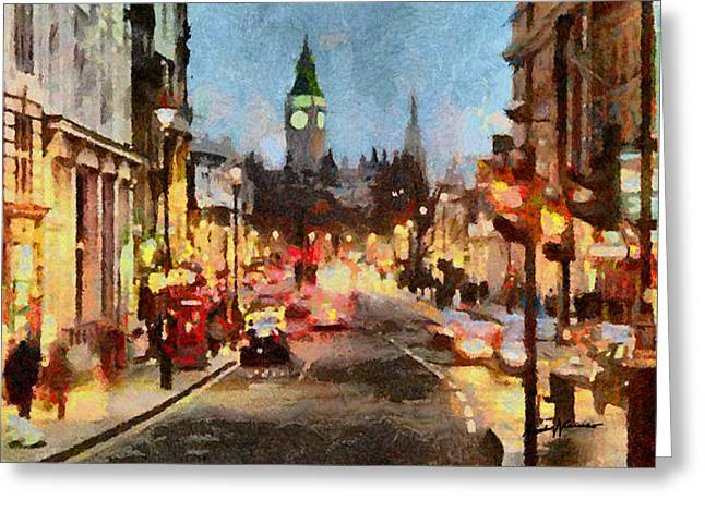 Caruso Greeting Cards - London Scene Greeting Card by Anthony Caruso