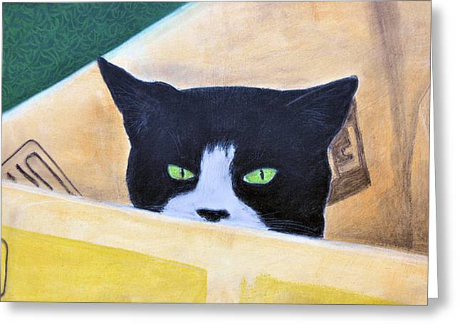 Playful Pastels Greeting Cards - Louie In The Box Greeting Card by Jan Amiss