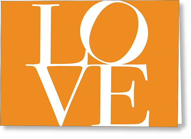 Word Greeting Cards - Love in Orange Greeting Card by Michael Tompsett