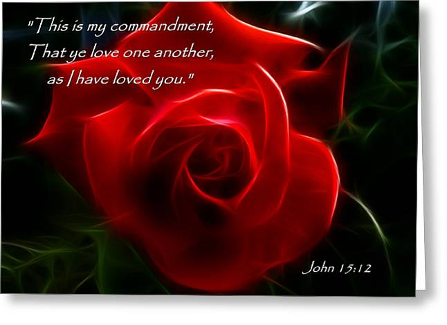 Love Red Rose John 15 Greeting Card by Cindy Wright