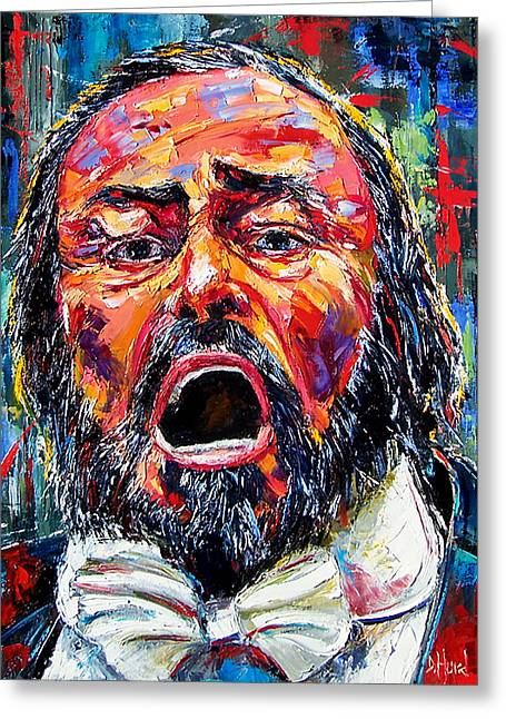 Pavarotti Greeting Cards - Luciano Pavarotti portrait Greeting Card by Debra Hurd
