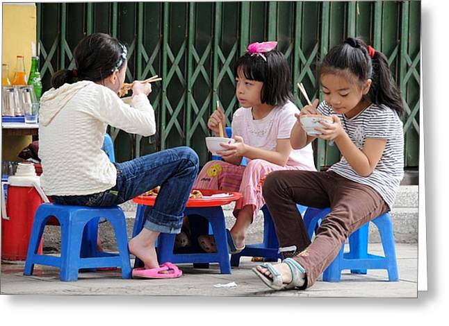 East Asia Greeting Cards - Lunchtime Greeting Card by Marion Galt
