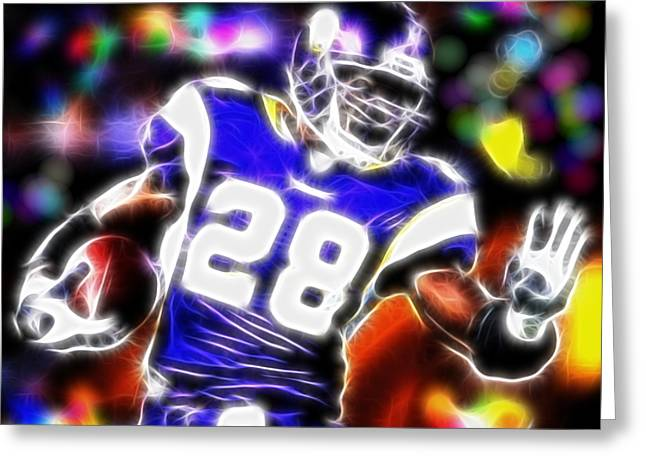 Adrian Peterson Greeting Cards - Magical Adrian Peterson   Greeting Card by Paul Van Scott