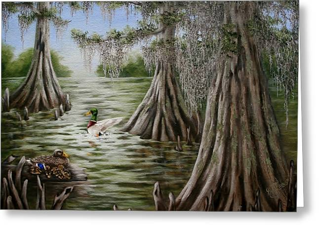 Baby Mallards Paintings Greeting Cards - Mallards Greeting Card by Ruth Bares