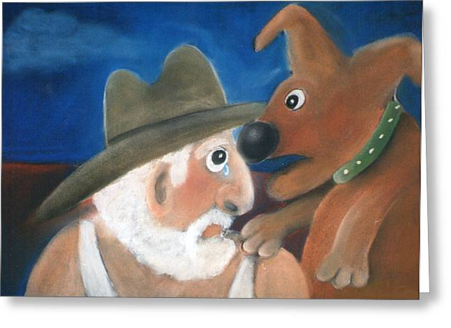 Friendship Pastels Greeting Cards - Mans Best Mate Greeting Card by Caroline Peacock
