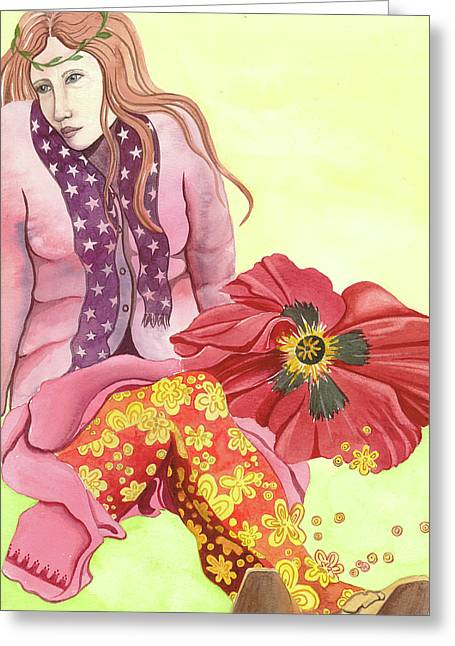 Oriental Poppy Greeting Cards - Margarets Magic Stockings Greeting Card by Sheri Howe