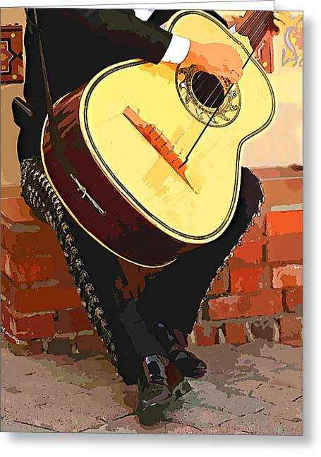 Charro Hat Greeting Cards - Mariachi Guitarron  Greeting Card by Cheryl Young