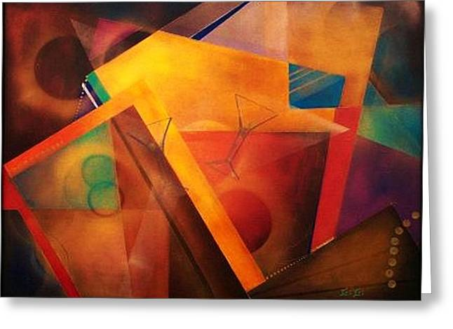 Blue Abstracts Greeting Cards - Martini Combo Greeting Card by Gigi  Cook
