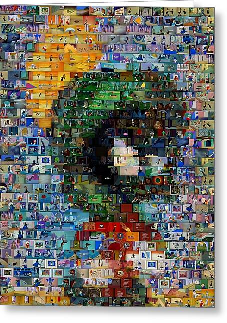 Bugs Bunny Greeting Cards - Marvin The Martian Mosaic Greeting Card by Paul Van Scott