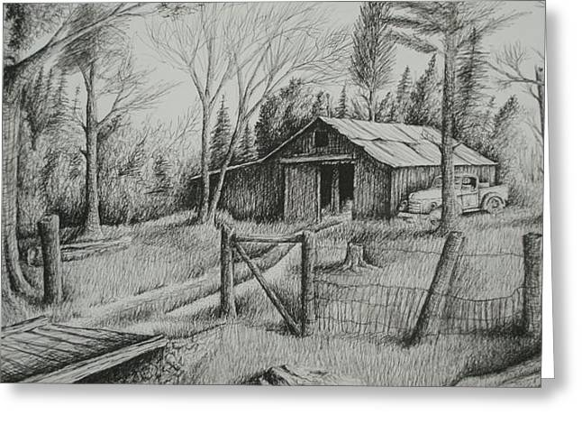 Old Barn Drawing Greeting Cards - MAs Barn and truck Greeting Card by Chris Shepherd