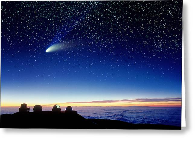 Comet Greeting Cards - Mauna Kea Telescopes Greeting Card by D Nunuk and Photo Researchers