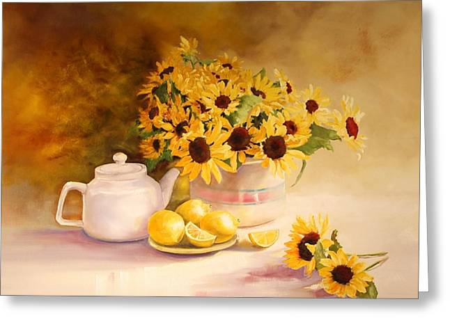 Mccoy Paintings Greeting Cards - McCoy Teapot and Sunflowers Greeting Card by Diana  Tyson
