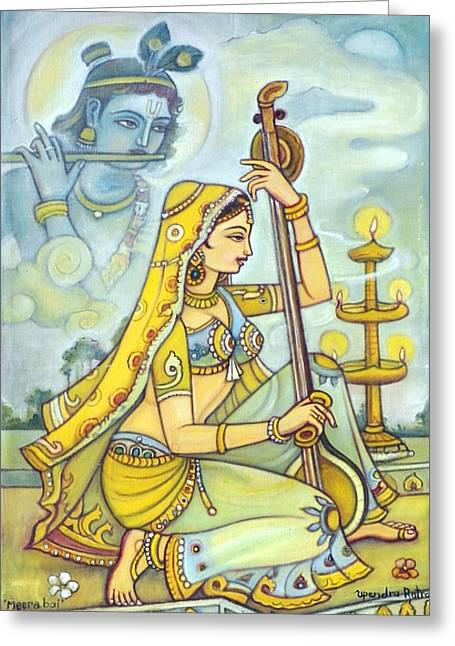 Sincerity Greeting Cards - Meerabai Greeting Card by Upendra Ratra