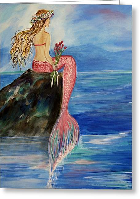 Sitting On Rock Greeting Cards - Mermaid Wishes Greeting Card by Leslie Allen