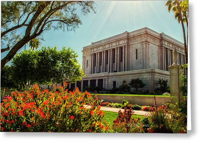 Mormon Temple Photography Greeting Cards - Mesa Temple Sun Glow Greeting Card by La Rae  Roberts
