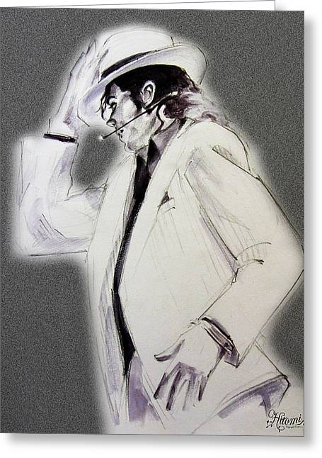 Mj Tribute Drawings Greeting Cards - Michael Jackson - Smooth Criminal in TII Greeting Card by Hitomi Osanai