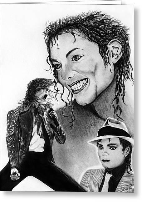 Entertainer Drawings Greeting Cards - Michael Jackson Faces to Remember Greeting Card by Peter Piatt