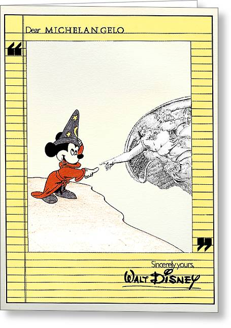 Chapel Mixed Media Greeting Cards - Michelangelos Creation of Mickey Greeting Card by Keith QbNyc