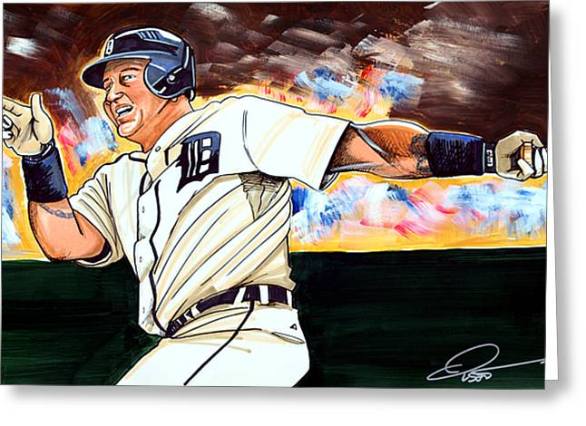 Miguel Cabrera  Greeting Card by Dave Olsen