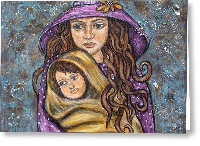 Mother And Child Prints Greeting Cards - Mom and Child Greeting Card by Rain Ririn