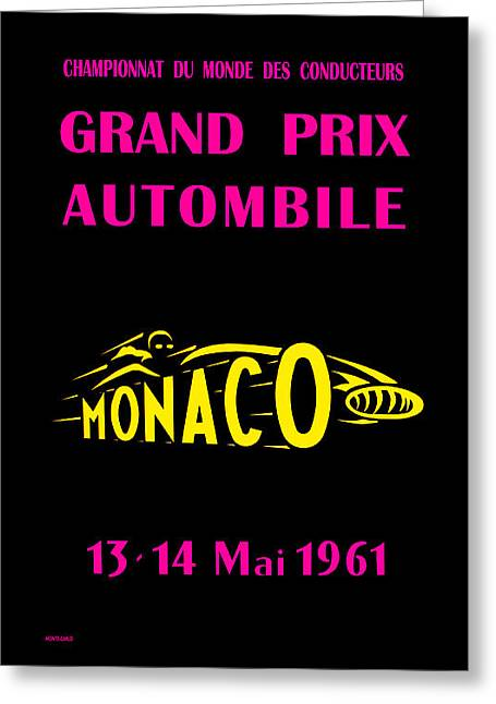 Monaco Greeting Cards - Monaco Grand Prix 1961 Greeting Card by Mark Rogan