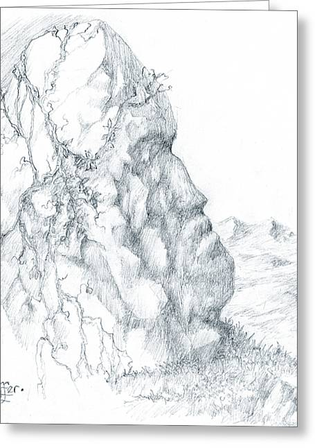 Lord Of The Rings Drawings Greeting Cards - Monolith 1 Greeting Card by Curtiss Shaffer