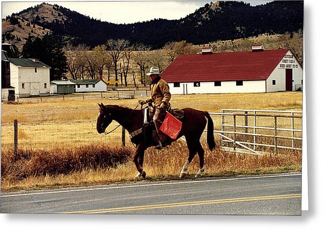 Best Sellers -  - Traffic Control Greeting Cards - Montana Traffic Control Greeting Card by Lynn Moon