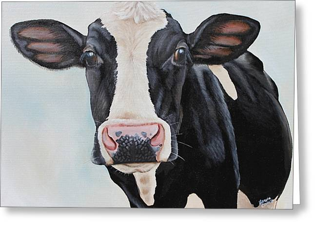 Moos Greeting Cards - Moowho Greeting Card by Laura Carey