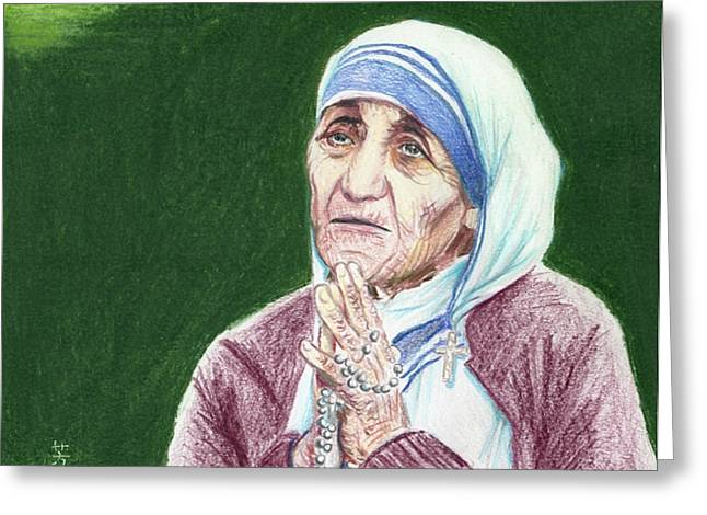 Human Rights Leader Greeting Cards - Mother Teresa Greeting Card by Yoshiko Mishina