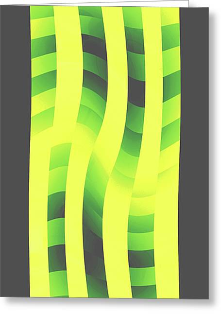 Gathering Greeting Cards - MoveOnArt YellowLimeGreenWave Greeting Card by Jacob Kanduch