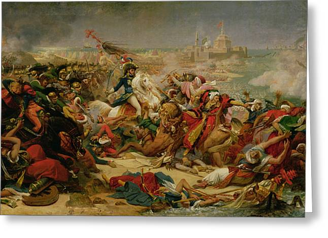 Tricolored Greeting Cards - Murat Defeating the Turkish Army at Aboukir on 25 July 1799 Greeting Card by Baron Antoine Jean Gros
