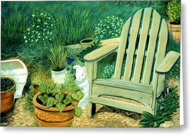 Garden Scene Pastels Greeting Cards - My Garden Chair Greeting Card by Jan Amiss