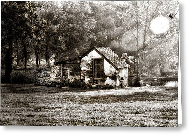 Dew Digital Greeting Cards - Narcissa Road Springhouse Greeting Card by Bill Cannon