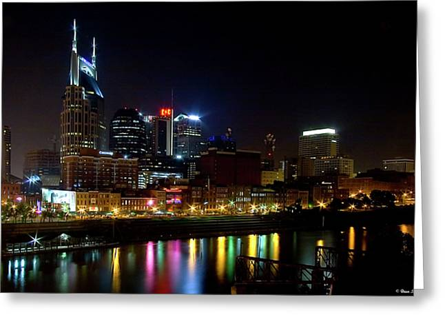 Hard Rock Cafe Building Greeting Cards - Nashville Skyline at Night Greeting Card by Brian Stamm